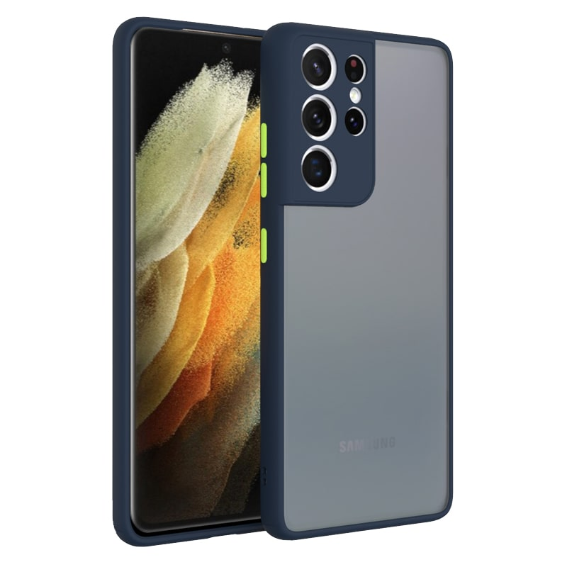 کاور و قاب گوشی مناسب برای Samsung Galaxy S21 Ultra هیبریدی دکمه رنگی مدل پشت مات محافظ لنزدار