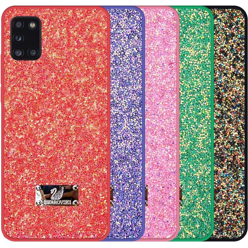 قاب بک کاور شاین دخترانه مناسب برای گوشی Samsung Galaxy A31 مدل لاکچری دیزاین طرح سواروسکی براق (اکلیلی ثابت)