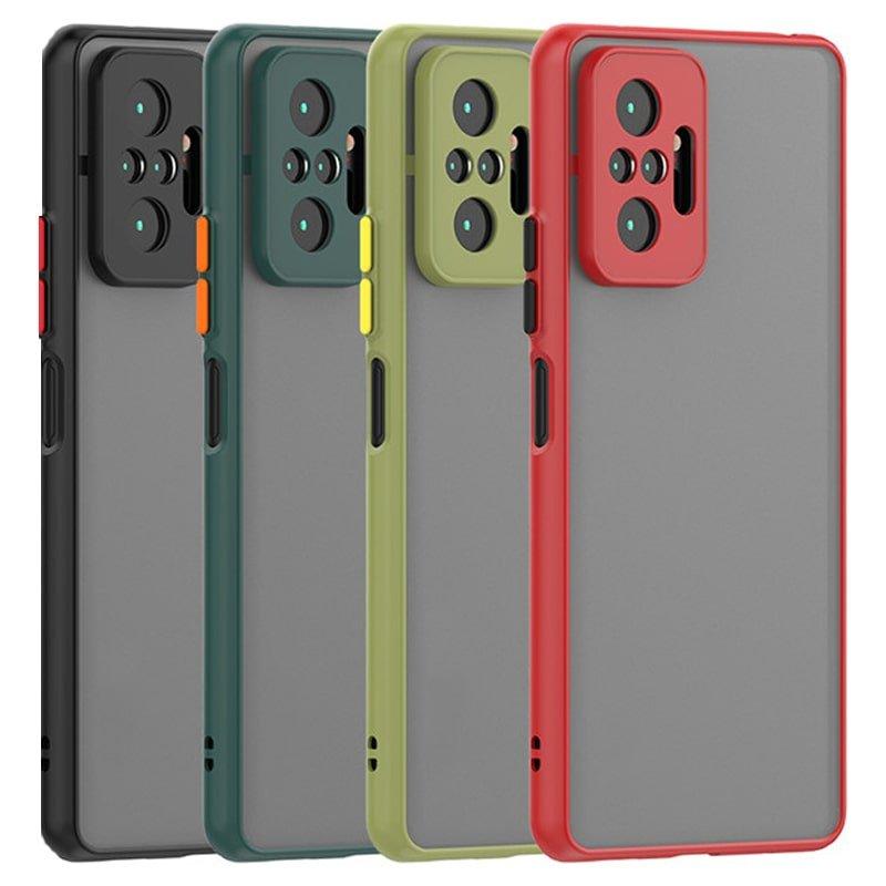 کاور و قاب گوشی مناسب برای Xiaomi Redmi Note 10 Pro / Note 10 Pro Max (2021) هیبریدی دکمه رنگی مدل پشت مات محافظ لنزدار