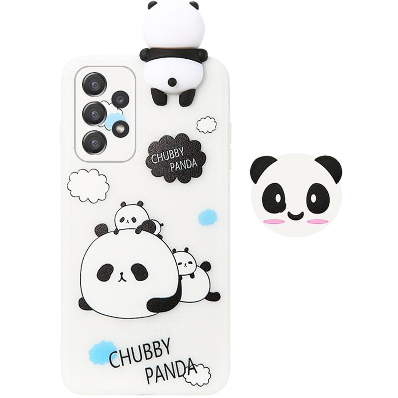 قاب فانتزی عروسکی پاندا کیس Panda Case مناسب برای گوشی Samsung Galaxy A52 5G / 4G مدل نیمه شفاف سه بعدی همراه با پاپ سوکت سیلیکونی ست (محافظ لنزدار)