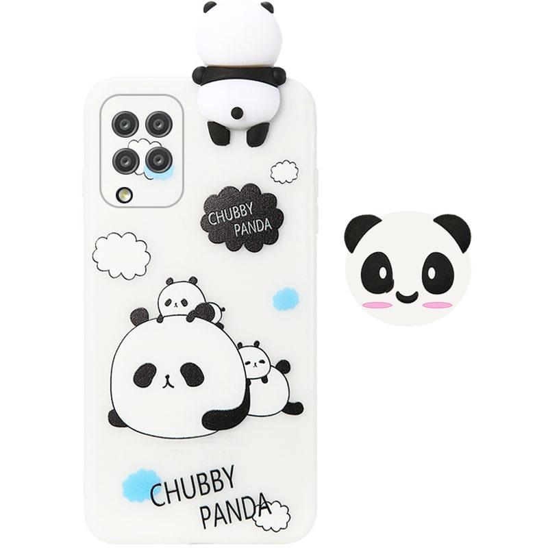 قاب فانتزی عروسکی پاندا کیس Panda Case مناسب برای گوشی Samsung Galaxy A42 مدل نیمه شفاف سه بعدی همراه با پاپ سوکت سیلیکونی ست (محافظ لنزدار)