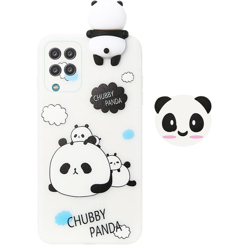 قاب فانتزی عروسکی پاندا کیس Panda Case مناسب برای گوشی Samsung Galaxy A12 مدل نیمه شفاف سه بعدی همراه با پاپ سوکت سیلیکونی ست (محافظ لنزدار)
