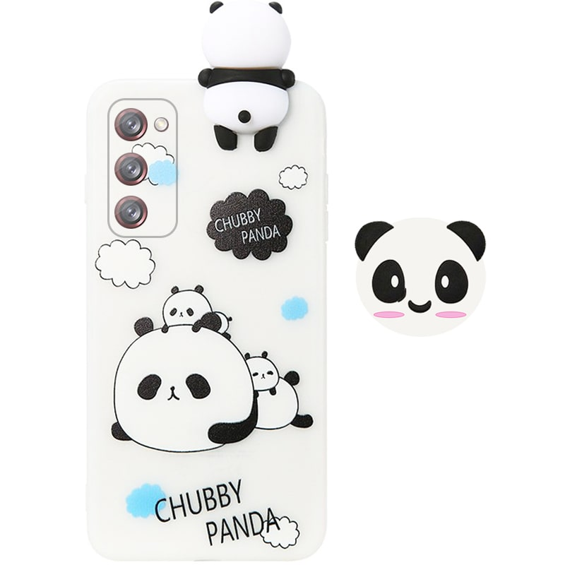 قاب فانتزی عروسکی پاندا کیس Panda Case مناسب برای گوشی Samsung Galaxy S20 FE مدل نیمه شفاف سه بعدی همراه با پاپ سوکت سیلیکونی ست (محافظ لنزدار)