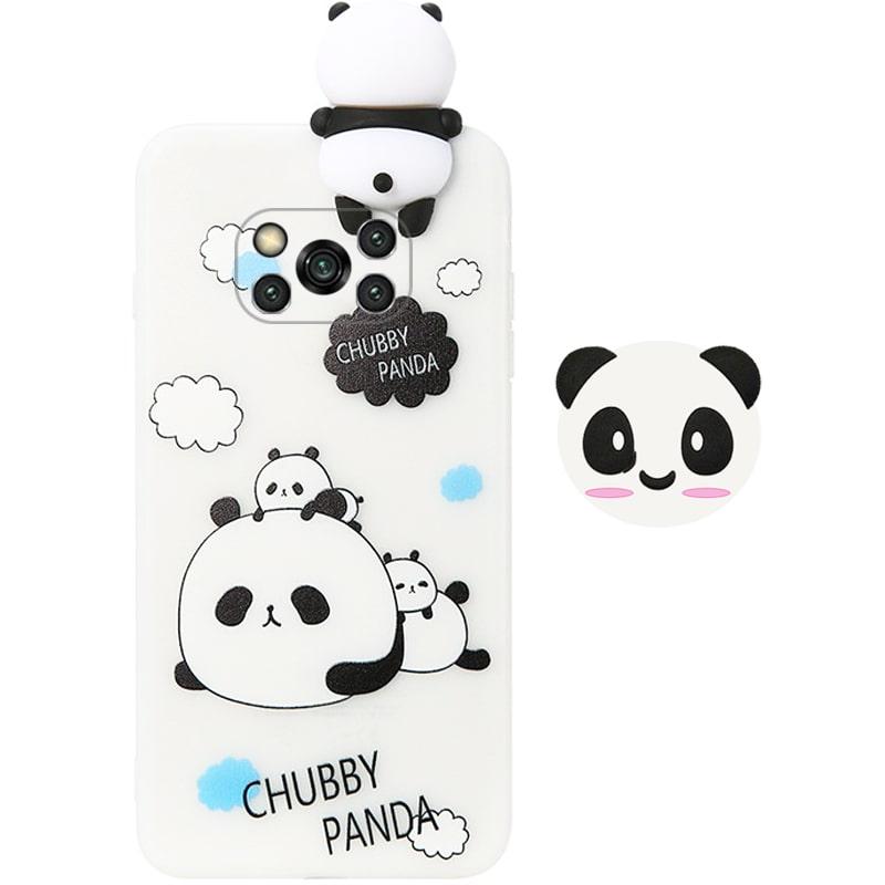قاب فانتزی عروسکی پاندا کیس Panda Case مناسب برای گوشی Xiaomi POCO X3 nfc / pro مدل نیمه شفاف سه بعدی همراه با پاپ سوکت سیلیکونی ست (محافظ لنزدار)