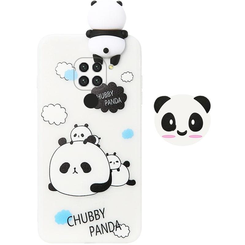 قاب فانتزی عروسکی پاندا کیس Panda Case مناسب برای گوشی Xiaomi Redmi Note 9 مدل نیمه شفاف سه بعدی همراه با پاپ سوکت سیلیکونی ست (محافظ لنزدار)