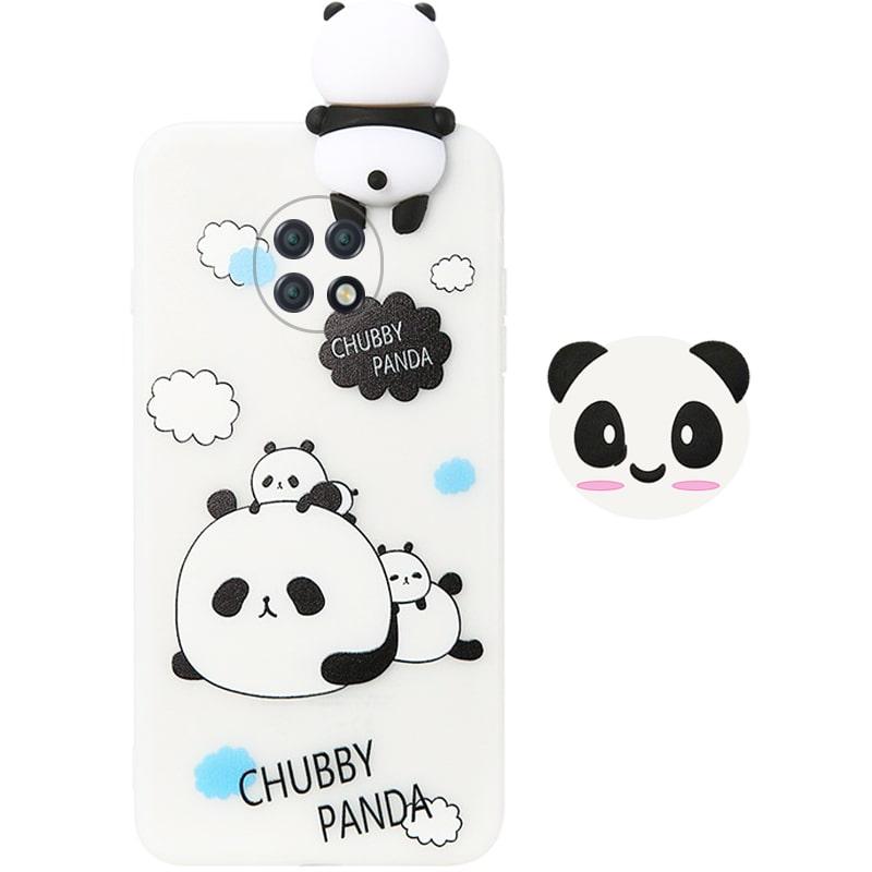 قاب فانتزی عروسکی پاندا کیس Panda Case مناسب برای گوشی Xiaomi Redmi Note 9T 5G مدل نیمه شفاف سه بعدی همراه با پاپ سوکت سیلیکونی ست (محافظ لنزدار)