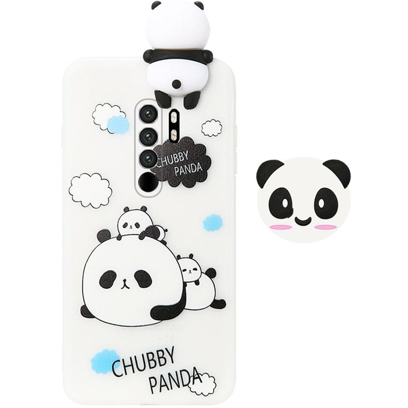 قاب فانتزی عروسکی پاندا کیس Panda Case مناسب برای گوشی Xiaomi Redmi 9 مدل نیمه شفاف سه بعدی همراه با پاپ سوکت سیلیکونی ست (محافظ لنزدار)