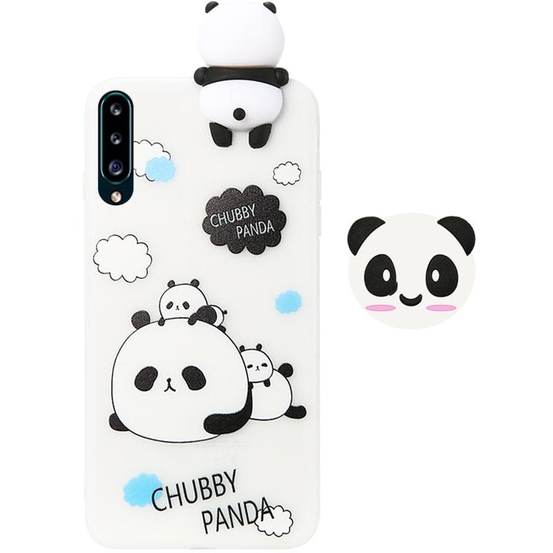 قاب فانتزی عروسکی پاندا کیس Panda Case مناسب برای گوشی Samsung Galaxy A50 / A50S / A30S مدل نیمه شفاف سه بعدی همراه با پاپ سوکت سیلیکونی ست