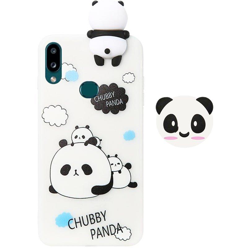قاب فانتزی عروسکی پاندا کیس Panda Case مناسب برای گوشی Samsung Galaxy A10S مدل نیمه شفاف سه بعدی همراه با پاپ سوکت سیلیکونی ست