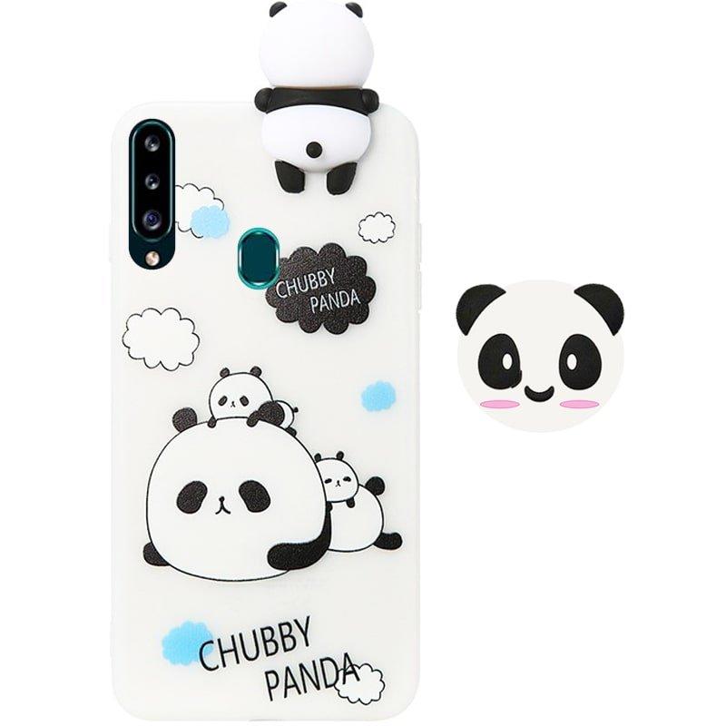 قاب فانتزی عروسکی پاندا کیس Panda Case مناسب برای گوشی Samsung Galaxy A20S مدل نیمه شفاف سه بعدی همراه با پاپ سوکت سیلیکونی ست
