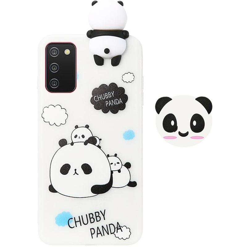 قاب فانتزی عروسکی پاندا کیس Panda Case مناسب برای گوشی Samsung Galaxy A02S مدل نیمه شفاف سه بعدی همراه با پاپ سوکت سیلیکونی ست