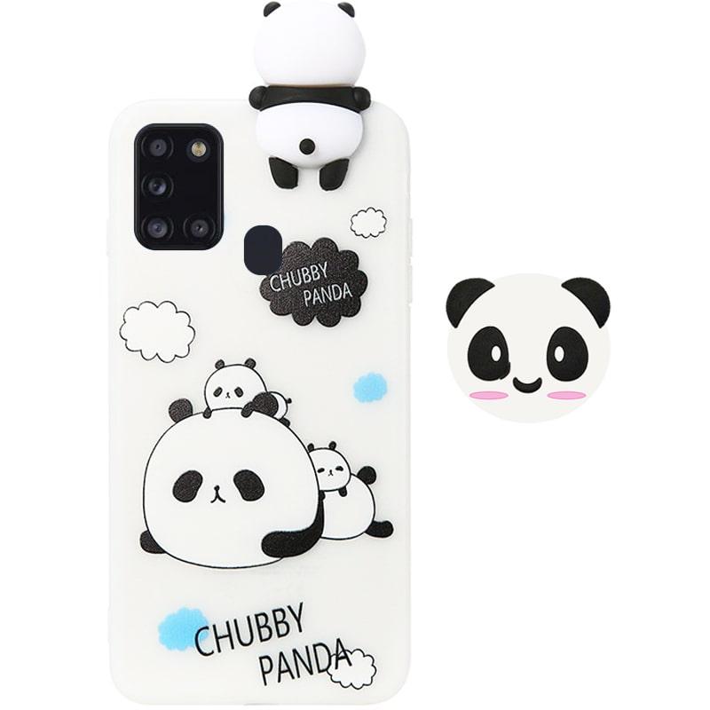 قاب فانتزی عروسکی پاندا کیس Panda Case مناسب برای گوشی Samsung Galaxy A21S مدل نیمه شفاف سه بعدی همراه با پاپ سوکت سیلیکونی ست