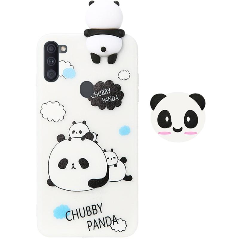قاب فانتزی عروسکی پاندا کیس Panda Case مناسب برای گوشی Samsung Galaxy A11 مدل نیمه شفاف سه بعدی همراه با پاپ سوکت سیلیکونی ست