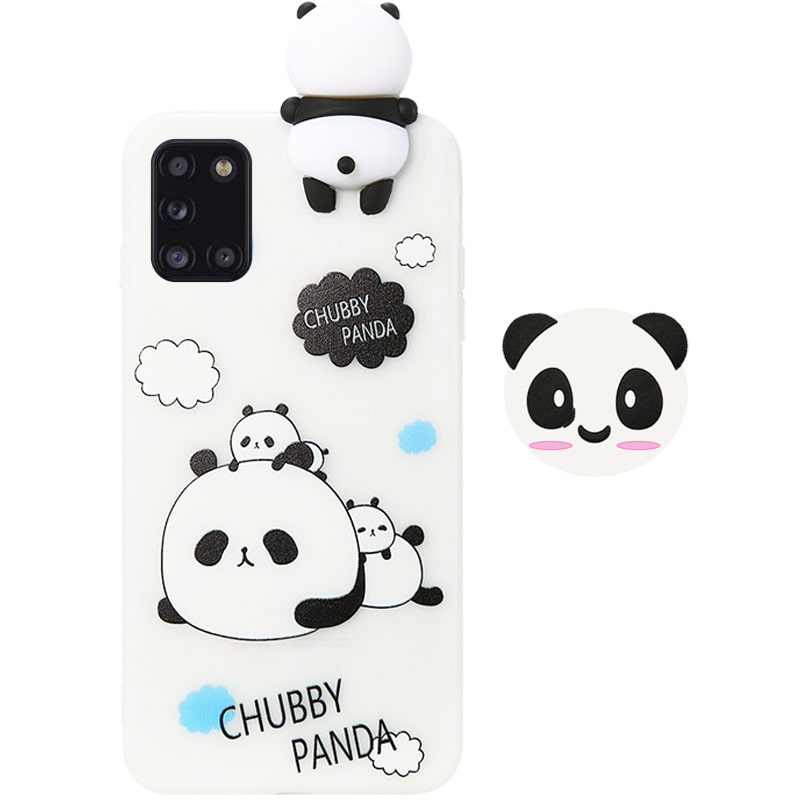 قاب فانتزی عروسکی پاندا کیس Panda Case مناسب برای گوشی Samsung Galaxy A31 مدل نیمه شفاف سه بعدی همراه با پاپ سوکت سیلیکونی ست