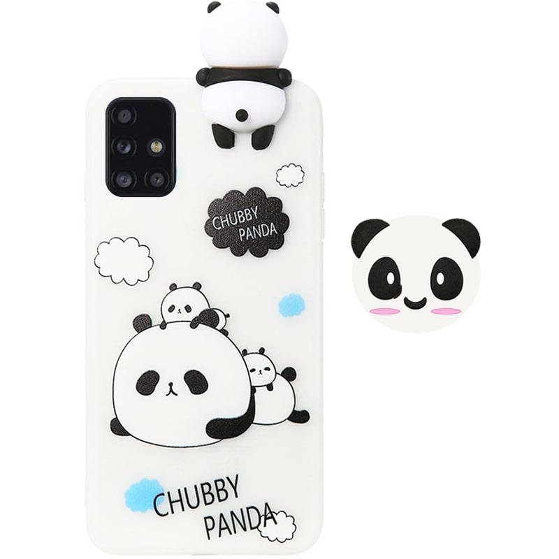 قاب فانتزی عروسکی پاندا کیس Panda Case مناسب برای گوشی Samsung Galaxy A51 مدل نیمه شفاف سه بعدی همراه با پاپ سوکت سیلیکونی ست