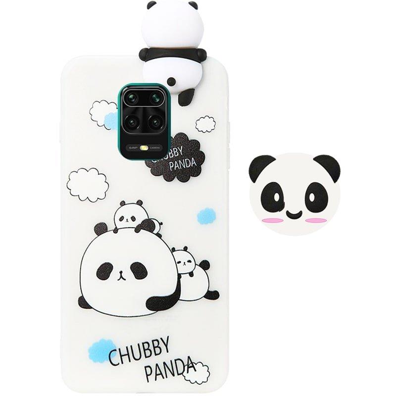 قاب فانتزی عروسکی پاندا کیس Panda Case مناسب برای گوشی Xiaomi Redmi Note 9S مدل نیمه شفاف سه بعدی همراه با پاپ سوکت سیلیکونی ست