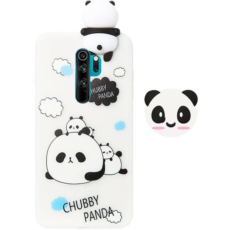 قاب فانتزی عروسکی پاندا کیس Panda Case مناسب برای گوشی Xiaomi Redmi Note 8 Pro مدل نیمه شفاف سه بعدی همراه با پاپ سوکت سیلیکونی ست