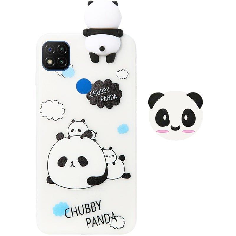قاب فانتزی عروسکی پاندا کیس Panda Case مناسب برای گوشی Xiaomi Redmi 9C مدل نیمه شفاف سه بعدی همراه با پاپ سوکت سیلیکونی ست