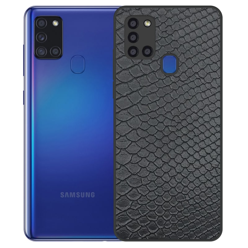 قاب چرم VIP دیزاین مناسب برای گوشی Samsung Galaxy A21S مدل محافظ لنزدار طرح چرم کروکودیل (صنعتی)
