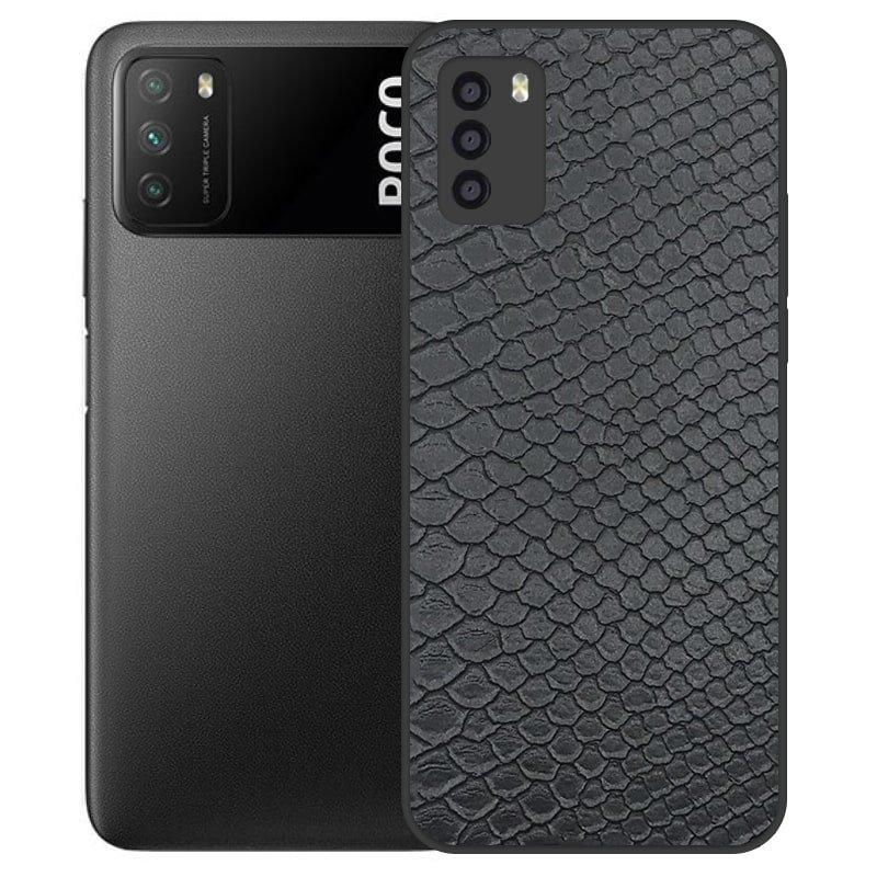 قاب چرم VIP دیزاین مناسب برای گوشی Xiaomi POCO M3 / Pro مدل محافظ لنزدار طرح چرم کروکودیل (صنعتی)