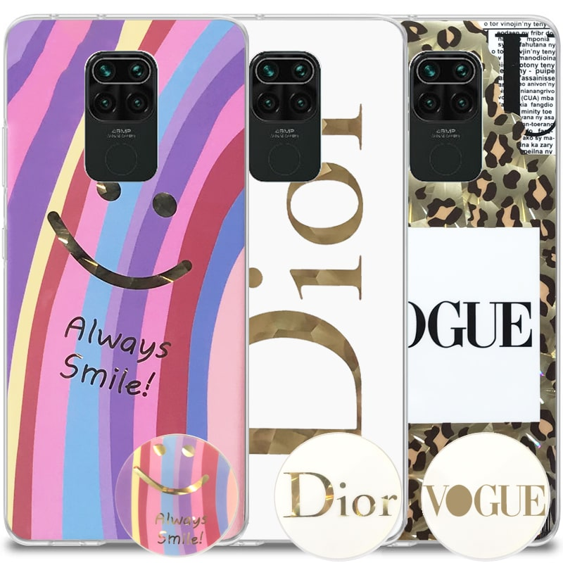 قاب فانتزی گلدلاین مناسب برای گوشی Xiaomi Redmi Note 9 مدل imd طرحدار دخترانه همراه با پاپ سوکت