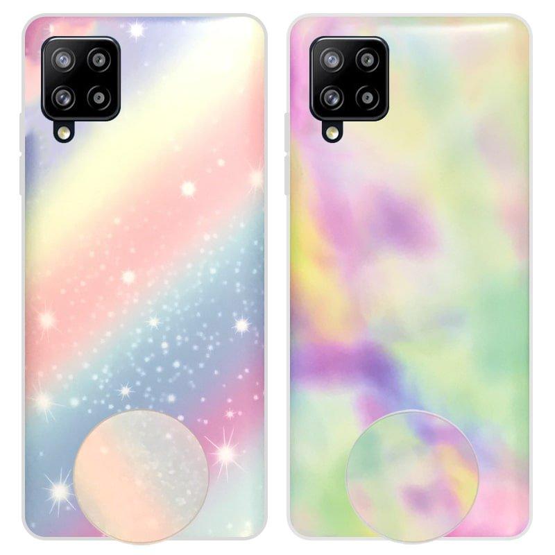 قاب آبرنگی پاپ سوکت دار مناسب برای گوشی Samsung Galaxy A12 مدل طرحدار فانتزی دخترانه و زنانه Rainbow Phone Case