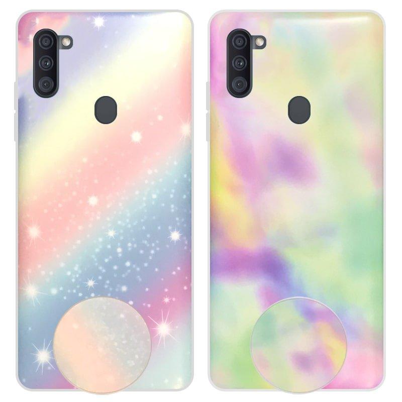 قاب آبرنگی پاپ سوکت دار مناسب برای گوشی Samsung Galaxy A11 مدل طرحدار فانتزی دخترانه و زنانه Rainbow Phone Case