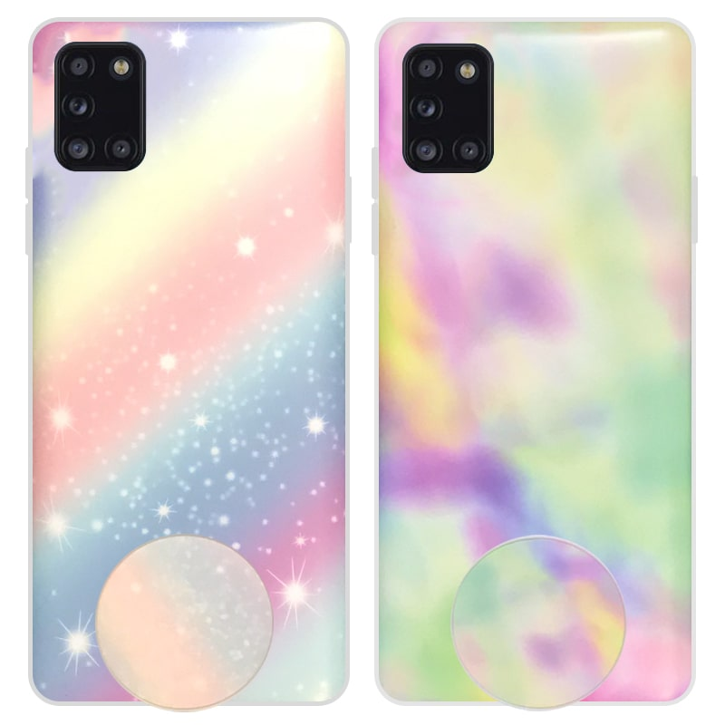قاب آبرنگی پاپ سوکت دار مناسب برای گوشی Samsung Galaxy A31 مدل طرحدار فانتزی دخترانه و زنانه Rainbow Phone Case