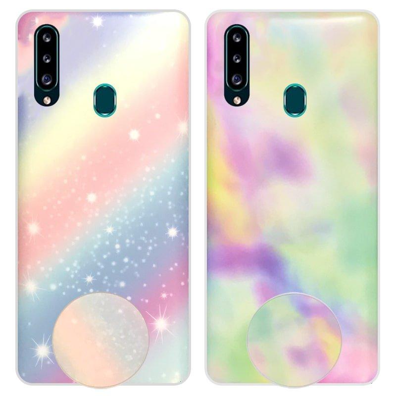 قاب آبرنگی پاپ سوکت دار مناسب برای گوشی Samsung Galaxy A20S مدل طرحدار فانتزی دخترانه و زنانه Rainbow Phone Case