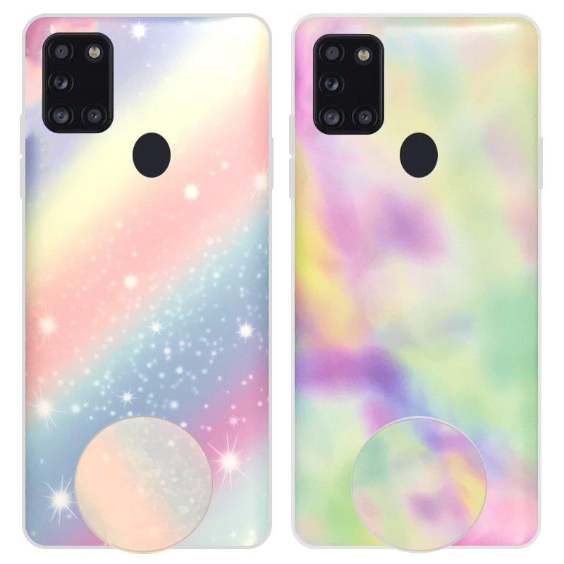 قاب آبرنگی پاپ سوکت دار مناسب برای گوشی Samsung Galaxy A21S مدل طرحدار فانتزی دخترانه و زنانه Rainbow Phone Case