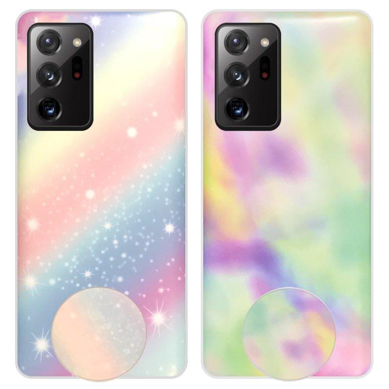 قاب آبرنگی پاپ سوکت دار مناسب برای گوشی Samsung Galaxy Note 20 Ultra مدل طرحدار فانتزی دخترانه و زنانه Rainbow Phone Case