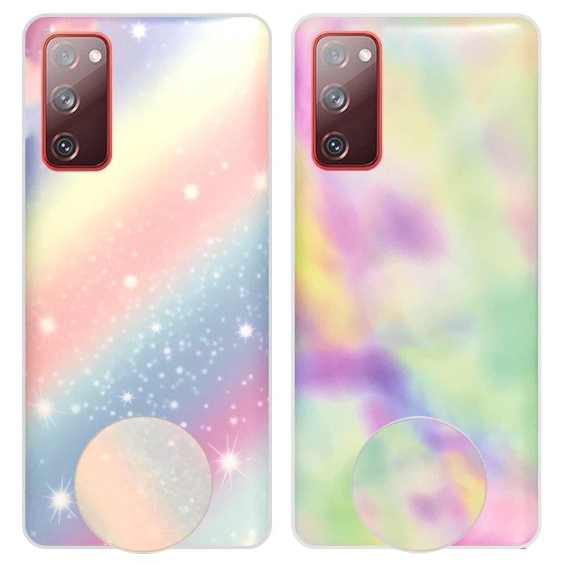 قاب آبرنگی پاپ سوکت دار مناسب برای گوشی Samsung Galaxy S20 FE مدل طرحدار فانتزی دخترانه و زنانه Rainbow Phone Case