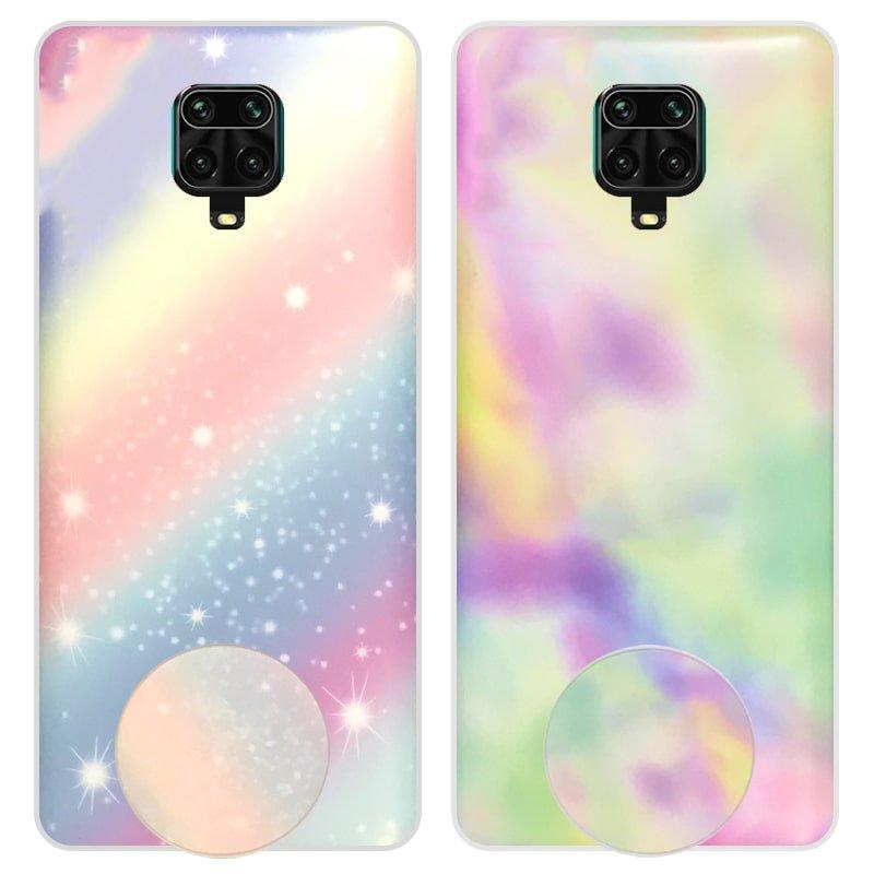 قاب آبرنگی پاپ سوکت دار مناسب برای گوشی Xiaomi Redmi Note 9S / 9 Pro / Max مدل طرحدار فانتزی دخترانه و زنانه Rainbow Phone Case