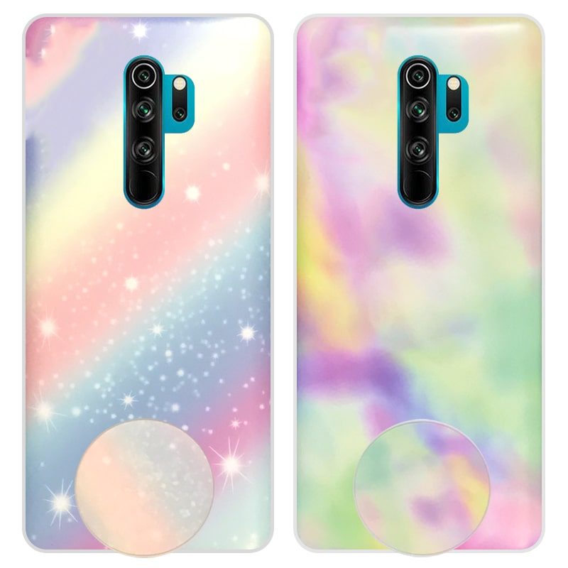 قاب آبرنگی پاپ سوکت دار مناسب برای گوشی Xiaomi Redmi Note 8 Pro مدل طرحدار فانتزی دخترانه و زنانه Rainbow Phone Case
