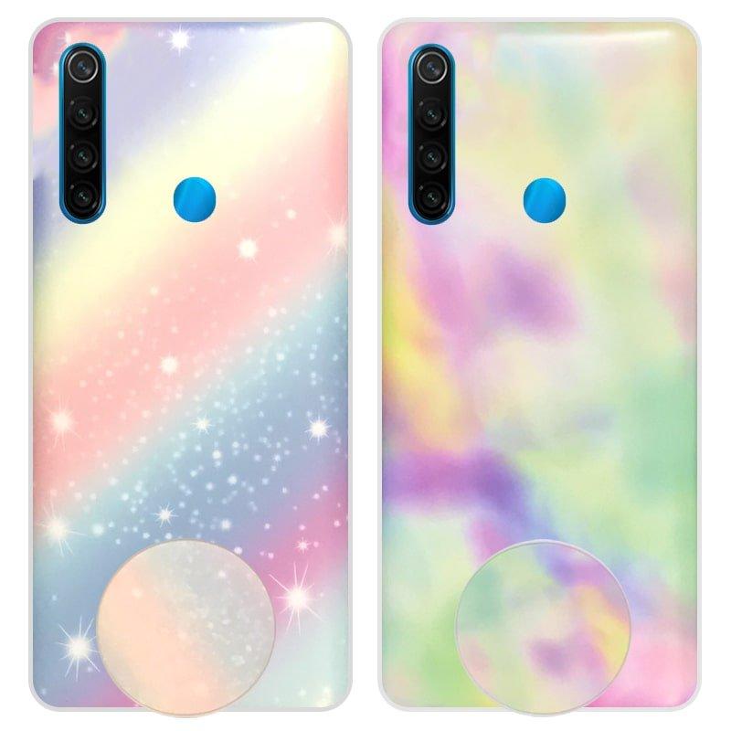 قاب آبرنگی پاپ سوکت دار مناسب برای گوشی Xiaomi Redmi Note 8 مدل طرحدار فانتزی دخترانه و زنانه Rainbow Phone Case