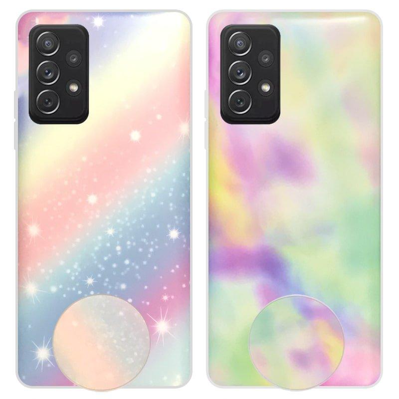 قاب آبرنگی پاپ سوکت دار مناسب برای گوشی Samsung Galaxy A52 5G / 4G مدل طرحدار فانتزی دخترانه و زنانه Rainbow Phone Case