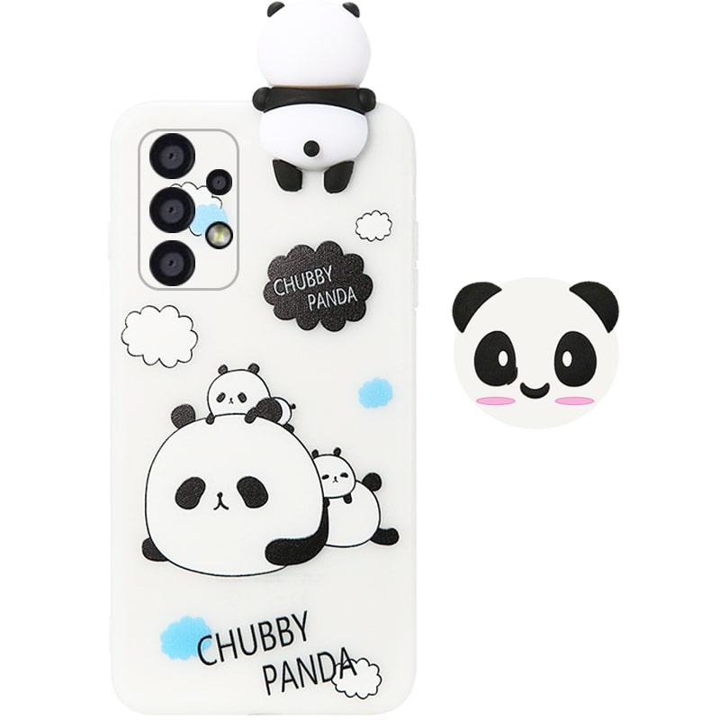 قاب فانتزی عروسکی پاندا کیس Panda Case مناسب برای گوشی Samsung Galaxy A32 4G مدل نیمه شفاف سه بعدی همراه با پاپ سوکت سیلیکونی ست (محافظ لنزدار)