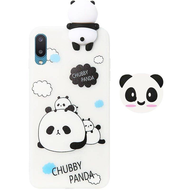 قاب فانتزی عروسکی پاندا کیس Panda Case مناسب برای گوشی Samsung Galaxy A02 / M02 / A022 مدل نیمه شفاف سه بعدی همراه با پاپ سوکت سیلیکونی ست