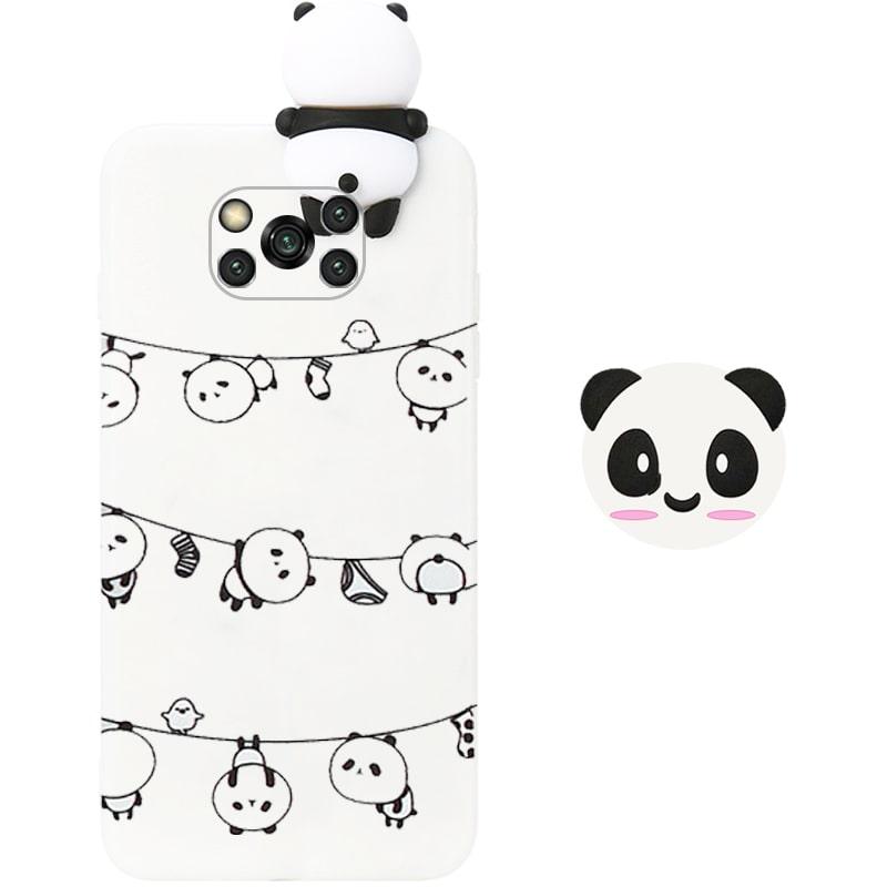 قاب فانتزی عروسکی پاندا رختی Panda Case مناسب برای گوشی Xiaomi POCO X3 nfc / pro مدل نیمه شفاف سه بعدی همراه با پاپ سوکت سیلیکونی ست (محافظ لنزدار)