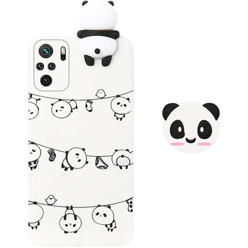 قاب فانتزی عروسکی پاندا رختی Panda Case مناسب برای گوشی Xiaomi Redmi Note 10S / 10 4G مدل نیمه شفاف سه بعدی همراه با پاپ سوکت سیلیکونی ست (محافظ لنزدار)