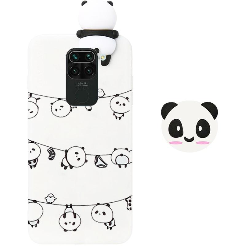 قاب فانتزی عروسکی پاندا رختی Panda Case مناسب برای گوشی Xiaomi Redmi Note 9 مدل نیمه شفاف سه بعدی همراه با پاپ سوکت سیلیکونی ست (محافظ لنزدار)