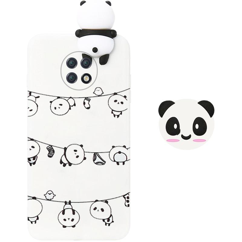 قاب فانتزی عروسکی پاندا رختی Panda Case مناسب برای گوشی Xiaomi Redmi Note 9T 5G مدل نیمه شفاف سه بعدی همراه با پاپ سوکت سیلیکونی ست (محافظ لنزدار)