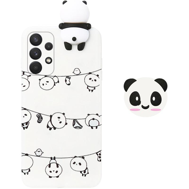 قاب فانتزی عروسکی پاندا رختی Panda Case مناسب برای گوشی Samsung Galaxy A32 5G مدل نیمه شفاف سه بعدی همراه با پاپ سوکت سیلیکونی ست (محافظ لنزدار)