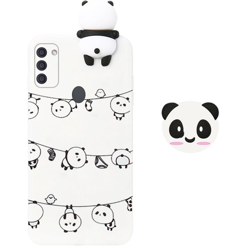قاب فانتزی عروسکی پاندا رختی Panda Case مناسب برای گوشی Samsung Galaxy A11 مدل نیمه شفاف سه بعدی همراه با پاپ سوکت سیلیکونی ست