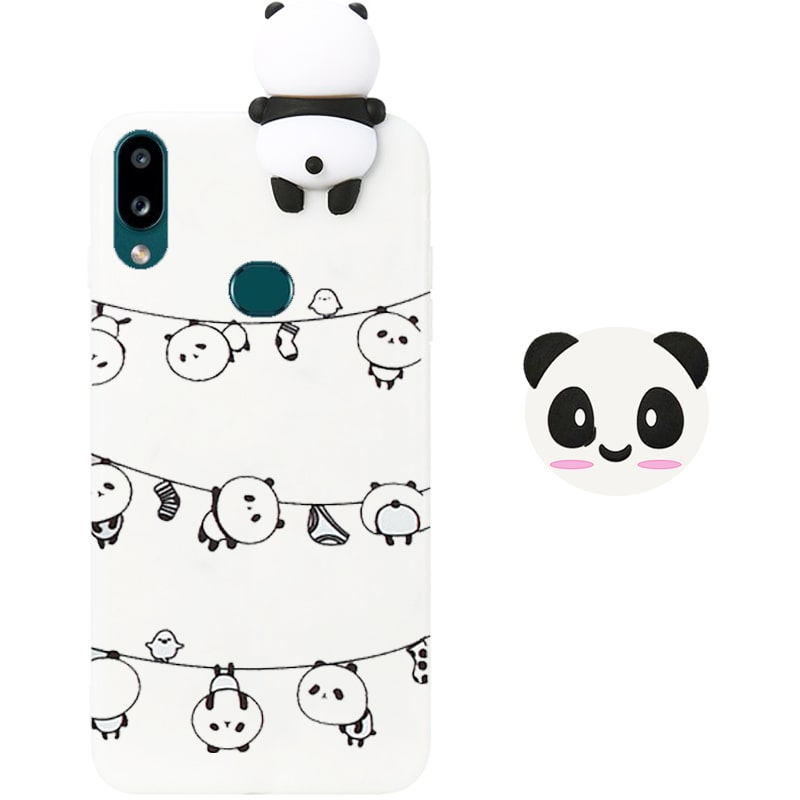 قاب فانتزی عروسکی پاندا رختی Panda Case مناسب برای گوشی Samsung Galaxy A10S مدل نیمه شفاف سه بعدی همراه با پاپ سوکت سیلیکونی ست