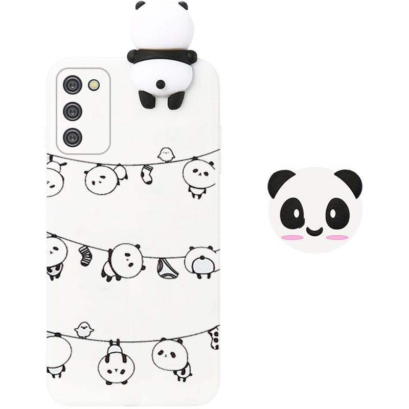قاب فانتزی عروسکی پاندا رختی Panda Case مناسب برای گوشی Samsung Galaxy A02S مدل نیمه شفاف سه بعدی همراه با پاپ سوکت سیلیکونی ست