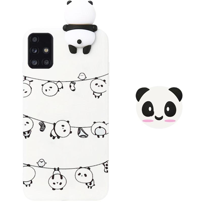 قاب فانتزی عروسکی پاندا رختی Panda Case مناسب برای گوشی Samsung Galaxy A71 مدل نیمه شفاف سه بعدی همراه با پاپ سوکت سیلیکونی ست