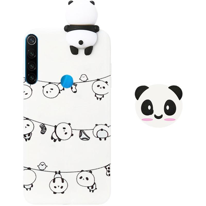 قاب فانتزی عروسکی پاندا رختی Panda Case مناسب برای گوشی Xiaomi Redmi Note 8 مدل نیمه شفاف سه بعدی همراه با پاپ سوکت سیلیکونی ست