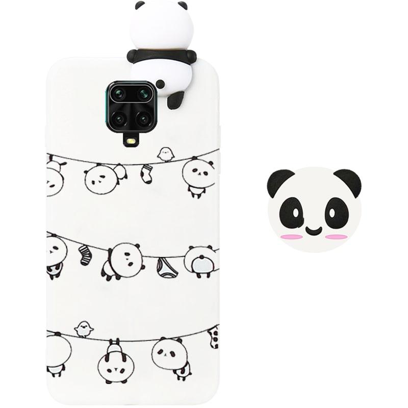 قاب فانتزی عروسکی پاندا رختی Panda Case مناسب برای گوشی Xiaomi Redmi Note 9S / 9 Pro مدل نیمه شفاف سه بعدی همراه با پاپ سوکت سیلیکونی ست