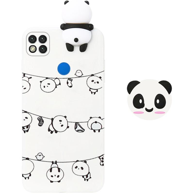 قاب فانتزی عروسکی پاندا رختی Panda Case مناسب برای گوشی Xiaomi Redmi 9C مدل نیمه شفاف سه بعدی همراه با پاپ سوکت سیلیکونی ست